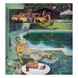 """Unwelcome Pool Guests,"" July 22, 1961 Gicléetryck av Thornton Utz"