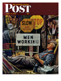 """Men Working,"" Saturday Evening Post Cover, April 12, 1947 Reproduction procédé giclée par Stevan Dohanos"