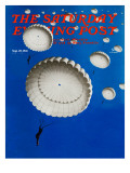 """Sky Full of White Parachutes,"" Saturday Evening Post Cover, September 20, 1941 Giclee Print by Arthur C. Radebaugh"