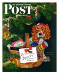 """""""Doggy Basket,"""" Saturday Evening Post Cover, December 19, 1942 Giclee Print by Charles Kaiser"""
