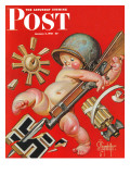 """Baby New Year at War,"" Saturday Evening Post Cover, January 2, 1943 Stampa giclée di Joseph Christian Leyendecker"