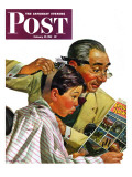 """Comical Haircut,"" Saturday Evening Post Cover, February 27, 1943 Giclee Print by Howard Scott"