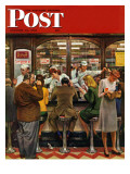 """Lunch Counter,"" Saturday Evening Post Cover, October 12, 1946 Giclée-Druck von John Falter"