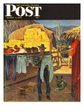 """Cowboy Hanging Out His Laundry,"" Saturday Evening Post Cover, March 1, 1947 Giclee Print by John Falter"