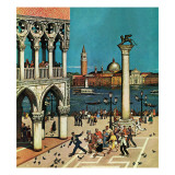 """""""American Tourists in Venice,"""" June 10, 1961 Giclée-tryk af Amos Sewell"""