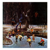 """Night Skating,"" December 16, 1944 Giclee-trykk av John Falter"