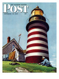 """Lighthouse Keeper,"" Saturday Evening Post Cover, September 22, 1945 Reproduction procédé giclée par Stevan Dohanos"