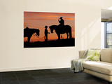 Cowboy and Cowgirl Silhouetted on a Ridge in the Big Horn Mountains, Wyoming, USA Wall Mural by Joe Restuccia III