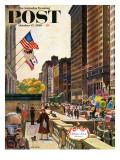 """Michigan Avenue, Chicago,"" Saturday Evening Post Cover, October 15, 1960 Giclée-Druck von John Falter"