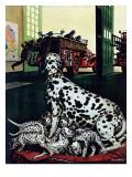 """""""Dalmatian and Pups,"""" January 13, 1945 Giclée-tryk af Stevan Dohanos"""