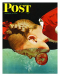 """""""Bobbing for Apples,"""" Saturday Evening Post Cover, October 30, 1943 Giclee Print by John Hyde Phillips"""