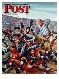 """""""Football Pile-up,"""" Saturday Evening Post Cover, October 23, 1948 Giclee-trykk av Constantin Alajalov"""