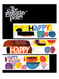 """""""Happy Collage,"""" Saturday Evening Post Cover, December 28, 1968 Giclée-Druck"""