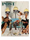 """Cowboy macht ein Nickerchen beim Friseur, """"Cowboy Asleep in Beauty Salon"""", Titelbild der Saturday Evening Post, 6. Mai 1961 Giclée-Druck von Kurt Ard"""