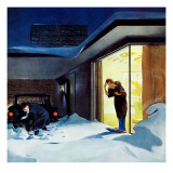 """Late for Party Due to Snow,"" January 27, 1962 Giclee Print by George Hughes"