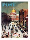 """Park Street, Boston,"" Saturday Evening Post Cover, January 7, 1961 Giclée-Druck von John Falter"