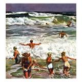 """""""Surf Swimming,"""" August 14, 1948 Giclée-tryk af John Falter"""