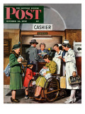"""""""Leaving the Hospital,"""" Saturday Evening Post Cover, October 22, 1949 Giclee Print by Stevan Dohanos"""
