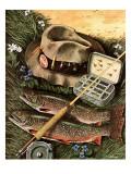 """Fishing Still Life,"" April 15, 1944 Reproduction procédé giclée par John Atherton"