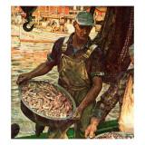 """""""Shrimpers,"""" October 25, 1947 Giclée-tryk af Mead Schaeffer"""