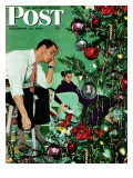"""""""Trimming the Tree,"""" Saturday Evening Post Cover, December 24, 1949 ジクレープリント : ジョージ・ヒューズ"""
