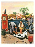 """Inflating Beach Toy,"" August 20, 1949 Lámina giclée por Stevan Dohanos"