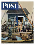 """Buying Lobsters,"" Saturday Evening Post Cover, July 2, 1949 Giclée-tryk af Stevan Dohanos"
