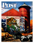 """Barnside Circus Poster,"" Saturday Evening Post Cover, August 4, 1945 Giclée-Druck von Stevan Dohanos"