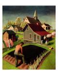"""""""Spring 1942,"""" April 18, 1942 Giclée-tryk af Grant Wood"""