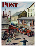 """""""Small Town Fire Company,"""" Saturday Evening Post Cover, May 14, 1949 Reproduction procédé giclée par Stevan Dohanos"""