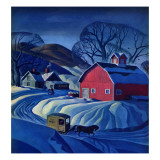 """Mail Wagon in Snowy Landscape,"" March 14, 1942 Lámina giclée por Dale Nichols"