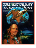 """Franklin and the Space Shuttle,"" Saturday Evening Post Cover, July 1, 1973 Giclee Print by B. Winthrop"