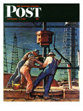 """Drilling for Oil,"" Saturday Evening Post Cover, November 9, 1946 Gicléetryck av Mead Schaeffer"