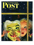 """""""Witch's Mask,"""" Saturday Evening Post Cover, October 31, 1942 Giclee Print by Charles Kaiser"""