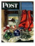 """Christmas Ornaments,"" Saturday Evening Post Cover, December 18, 1943 Stampa giclée di John Atherton"