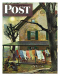 """Hanging Clothes Out to Dry,"" Saturday Evening Post Cover, April 7, 1945 Giclee Print by John Falter"