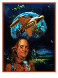 """Franklin and the Space Shuttle,"" July 1, 1973 Giclee Print by B. Winthrop"