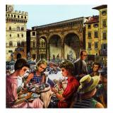 """""""Writing Postcards Home,"""" June 30, 1962 Giclée-tryk af Constantin Alajalov"""
