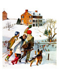 """Ice-Skating in the Country,"" December 1, 1971 Giclee-trykk av John Falter"