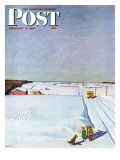 """Waiting for School Bus in Snow,"" Saturday Evening Post Cover, February 1, 1947 Giclee Print by John Falter"