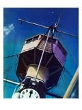 """Tower on Battleship,"" March 9, 1940 Giclee Print by Arthur C. Radebaugh"