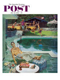"""Unwelcome Pool Guests,"" Saturday Evening Post Cover, July 22, 1961 Gicléetryck av Thornton Utz"