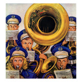 """March Band at Football Game,"" October 19, 1946 Lámina giclée por Stevan Dohanos"