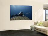 Diving With Spear Gun, Wolf Island, Galapagos Islands, Ecuador Poster géant par Pete Oxford