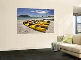 Kayaks on Beach, Hahei, Coromandel Peninsula, North Island, New Zealand Fototapete von David Wall