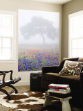 Field of Bluebonnets and Paintbrush on Foggy Morning, Texas, USA Wall Mural by Julie Eggers
