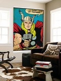 Marvel Comics Retro: Mighty Thor Comic Panel; God of Thunder! Holding Hammer (aged) Mural