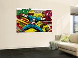 Marvel Comics Retro: Captain America Comic Panel, Fighting, Phase 1, So Far So Good! (aged) Wall Mural