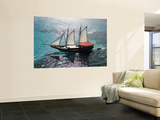 Aerial of Jolly Pirate Tourist Sail Boat Near Palm Beach Wall Mural by Holger Leue