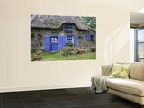 Thatched Cottage with Blue Doors, Windows and Pots of Geraniums Near Marzan Wall Mural by Barbara Van Zanten